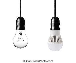 bulbs - light bulb and LED bulb isolated on white