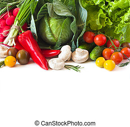 Healthy food - Fresh ripe vegetables on a white background