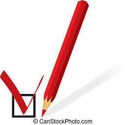 Red pencil with form for voting Vector illustration