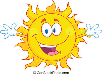 Happy Sun With Welcoming Open Arms Cartoon Character