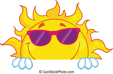 Smiling Sun With Sunglasses Over A Sign Board