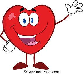 waving, Coração, Saudação, Feliz
