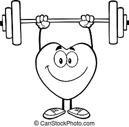 Outlined Heart Lifting Weights - Black And White Smiling...
