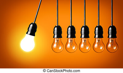 Idea concept - Perpetual motion with light bulbs