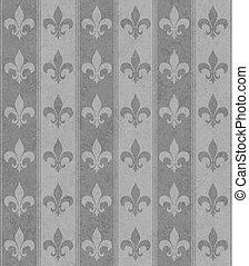 Gray Fleur De Lis Textured Fabric Background that is...