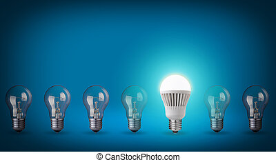 New technolgy - Idea concept on blue background. Row with...