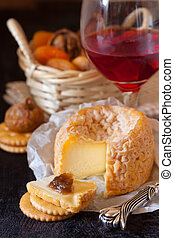 Cheese. - French cheese and red wine.