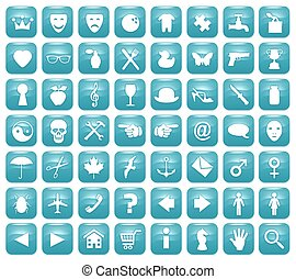 Aqua Downy Icon Set 1 - Illustration of 56 Aqua blue icons