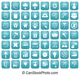 Aqua Downy Icon Set 2 - Illustration of 56 Aqua blue icons