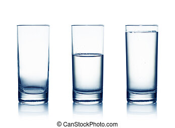 water glasses - Empty,half and full water glasses . Isolated...