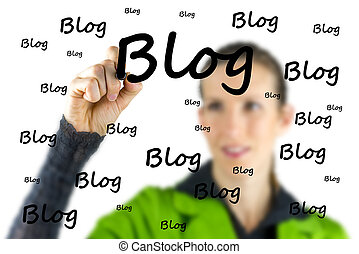 Blogger writing - Blog - on a virtual interface - Female...