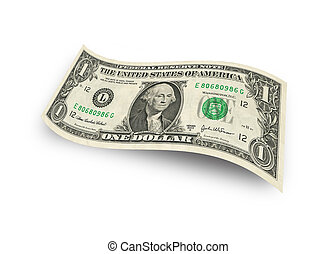 dollar banknote - One dollar banknote isolated on white...