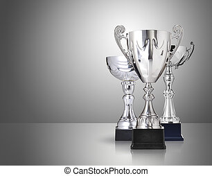 silver trophies - three different kind of silver trophies on...