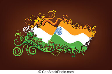 Floral Indian Flag - illustration of abstract floral Indian...
