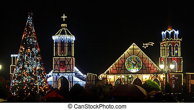 Church`s Lights - Lights of Christmas in Colonia Tovar, a...