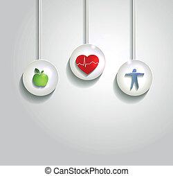 wellness, conceito, fundo, Coração,...