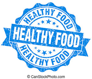 Healthy food blue grunge seal isolated on white background