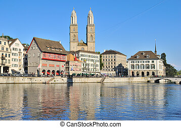 Zurich. Old Town embankment - Zurich, Switzerland. Quay of...