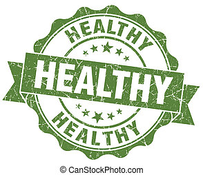 Healthy green grunge seal isolated on white background