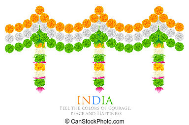 India Tricolor Flower Decoration - illustration of tri color...