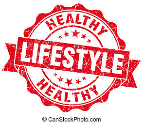 Healthy lifestyle red grunge seal isolated on white background