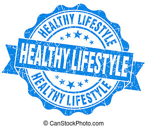 Healthy lifestyle blue grunge seal isolated on white...
