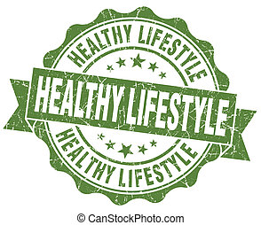 Healthy lifestyle green grunge seal isolated on white background
