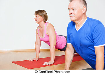 Yoga Exercise - An image of some people doing yoga exercises