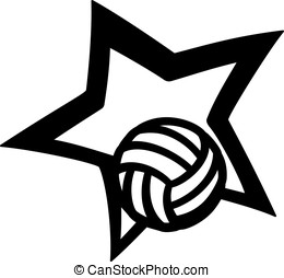 Volleyball Star - Volleyball with a curvy star.
