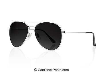 Aviator black sunglasses - Black sunglasses isolated on...
