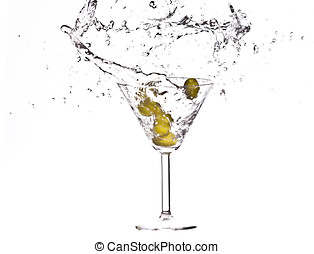 Martini Splash - olives in a martini Splash on white...