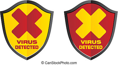 virus detected - shield signs - suitable for alert signs