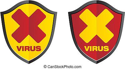 virus - sield signs - suitable for alert signs