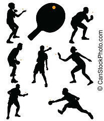 table tennis players - Black silhouettes of table tennis...