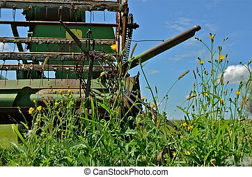 Old Self-Propelled Combine - An old vintage self propelled...
