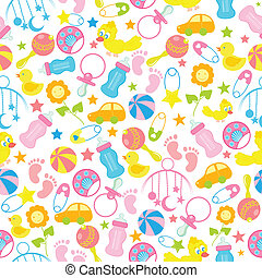 Baby Seamless Pattern Background - easy to edit vector...