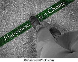 Choosing Happiness - Man walking across a green line with...