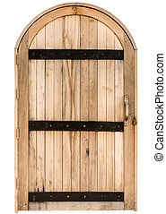 Wood arch door on  red brick wall background