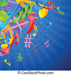 Music Notes Background - easy to edit vector illustration of...
