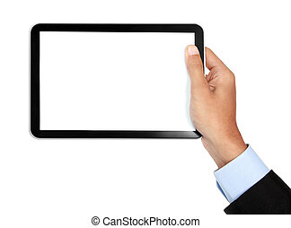 photo of a tablet held by a hand of businessman horizontally...