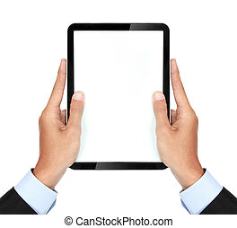 photo of a tablet held by a hand of businessman vertically -...