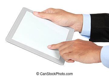 photo of a tablet held by a hand of businessman horizontaly...