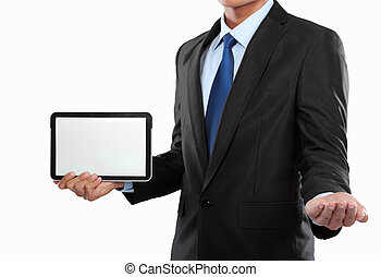 photo of a businessman showing blank tablet PC monitor