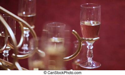 Champagne - Christmas party. Champagne on a wire stock as a...