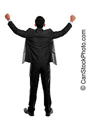 business man with arms raised in su - portrait of the back...