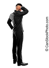 Back pose of a business person thinking. Isolated over white...