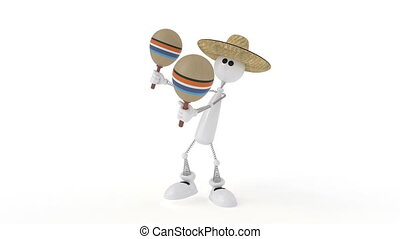The 3D character plays on a maracas - Playing music on...