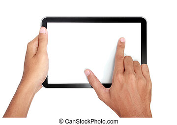 Fingers pinching to zoom tablets screen isolated over white...