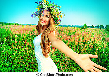happiness - Portrait of a romantic smiling young woman in a...
