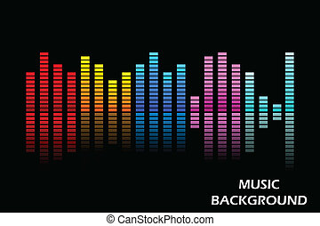 Music Equaliser - easy to edit vector illustration of music...